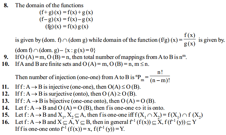 Relations and Functions Formulas for Class 12 Q5