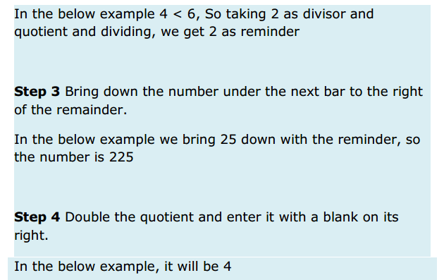 Squares and Square Roots Formulas for Class 8 Q6