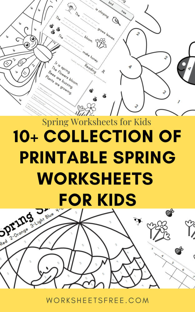 10+ Collection of Printable Spring Worksheets  for Kids