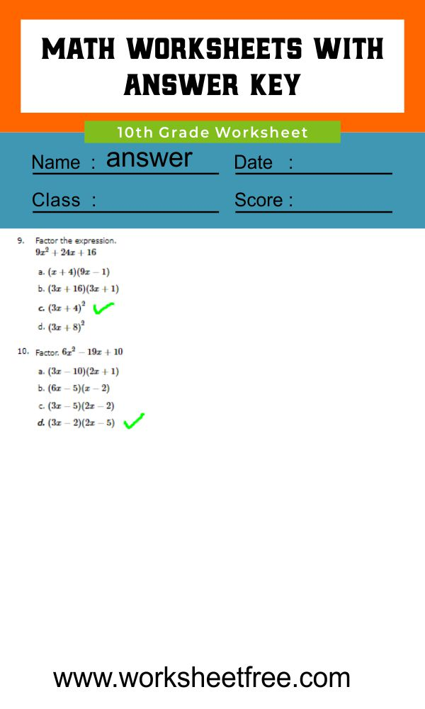 10th Grade Math Worksheets 4 answer