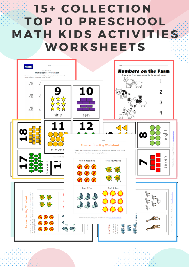 15+ Collection  Top 10 Preschool Math Kids Activities Worksheets