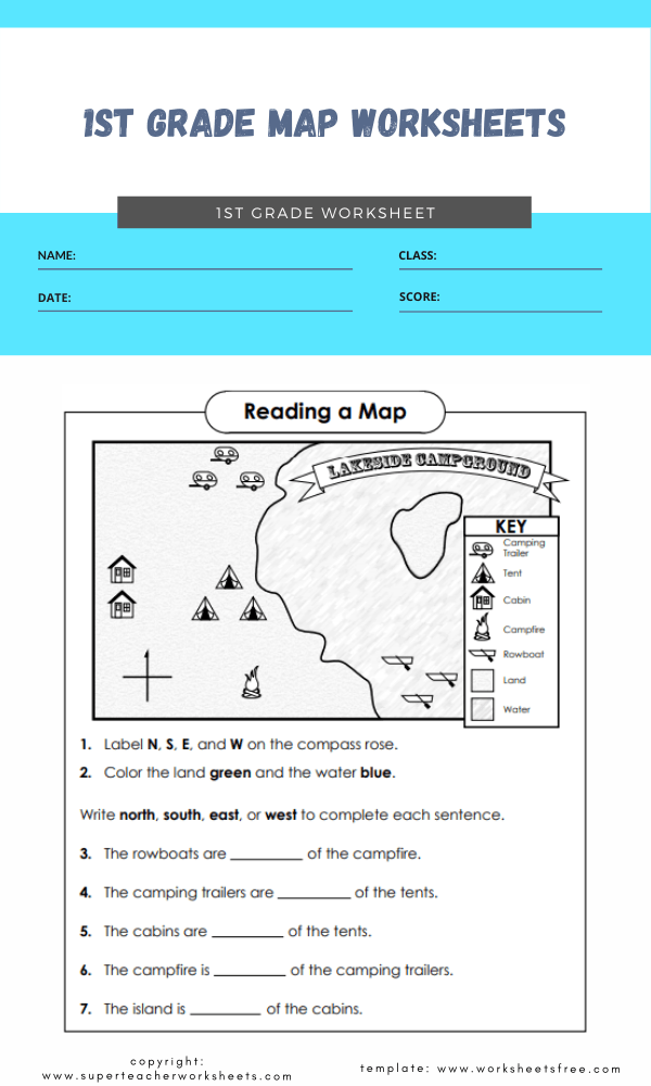 1st grade map worksheets 1