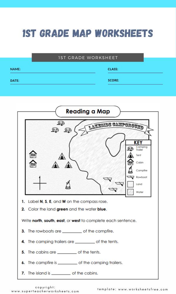1st grade map worksheets 1