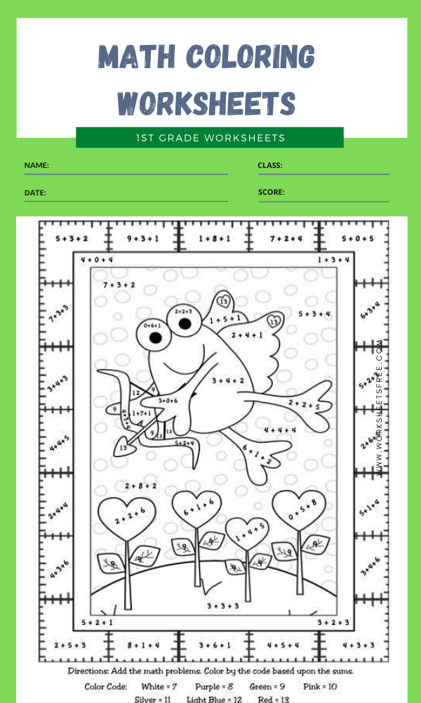 1st grade math coloring worksheets 3