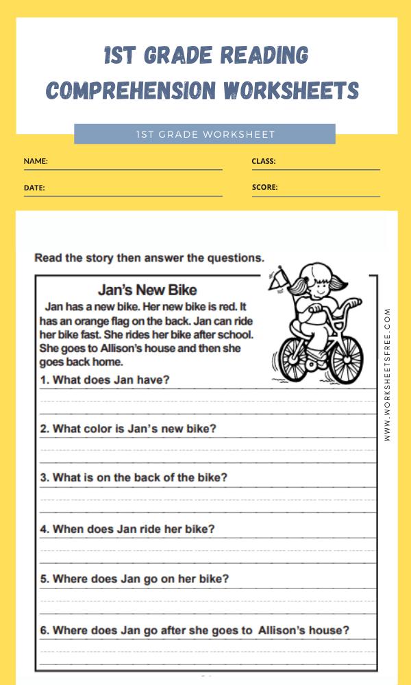 1st grade reading comprehension worksheets 1