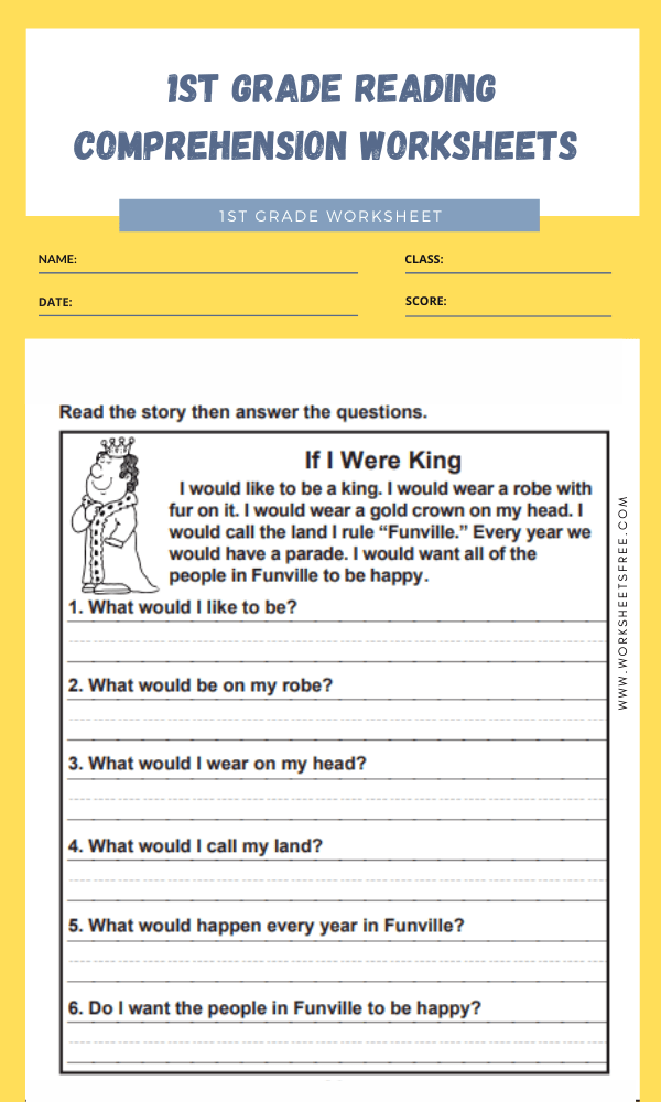 1st grade reading comprehension worksheets 4