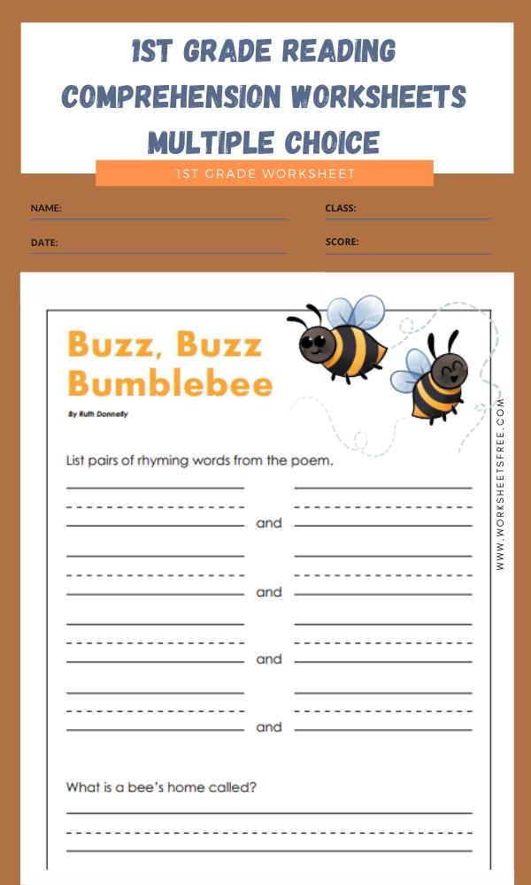 1st grade reading comprehension worksheets multiple choice 10