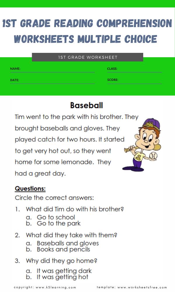 1st grade reading comprehension worksheets multiple choice 4