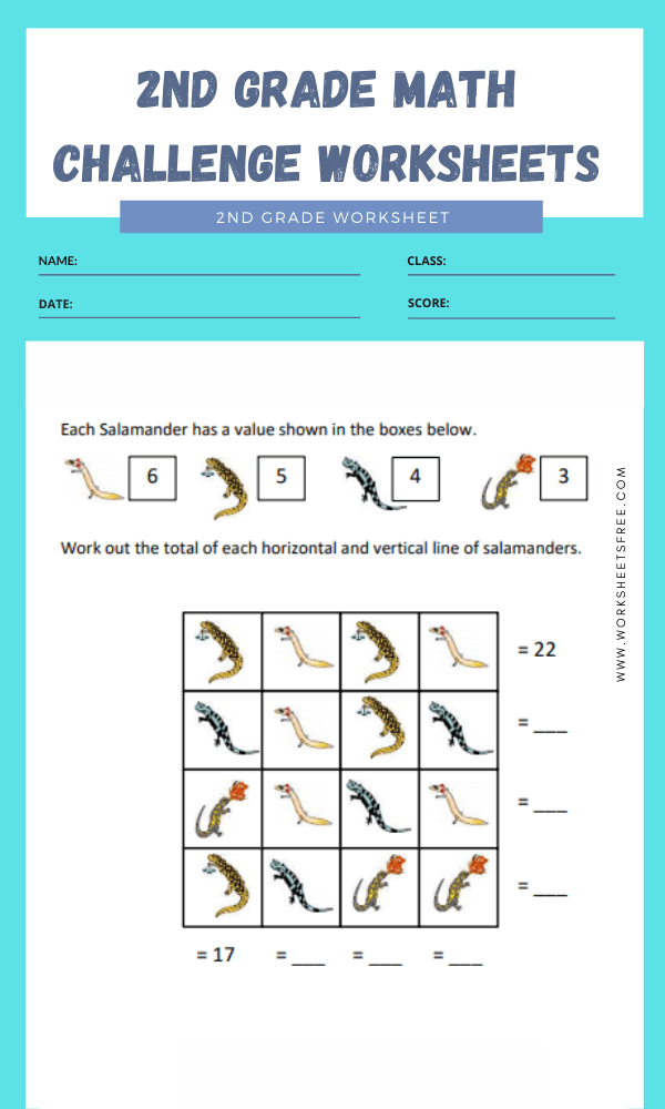 2nd Grade Math Challenge Worksheets 1