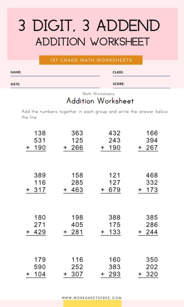 3 Digit, 3 Addend Addition Worksheet Grade 1