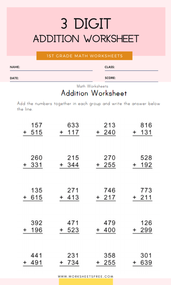 3 Digit Addition Worksheet Grade 1