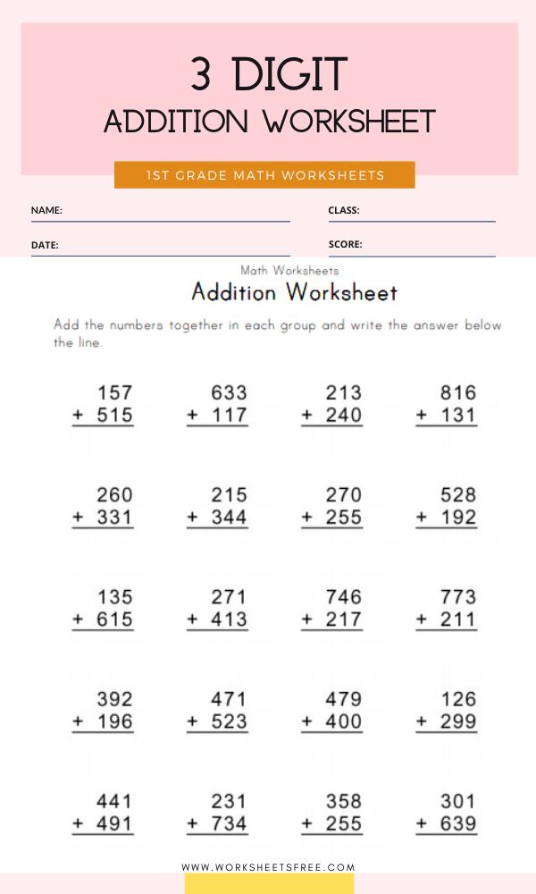 3 Digit Addition Worksheet Grade 1