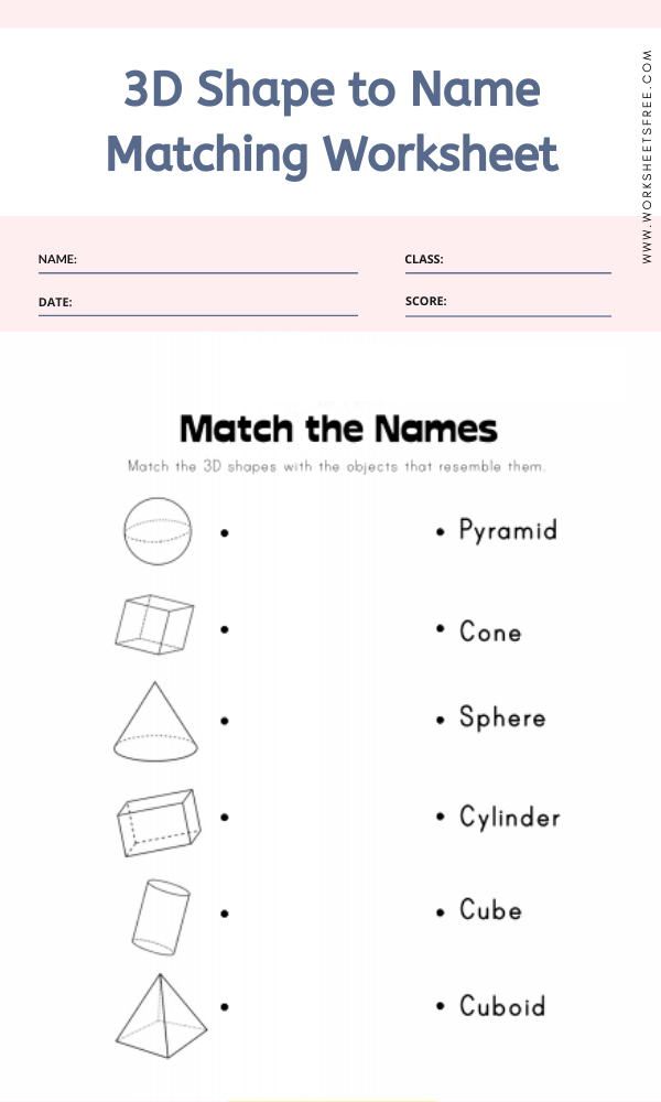 3D Shape to Name Matching Worksheet