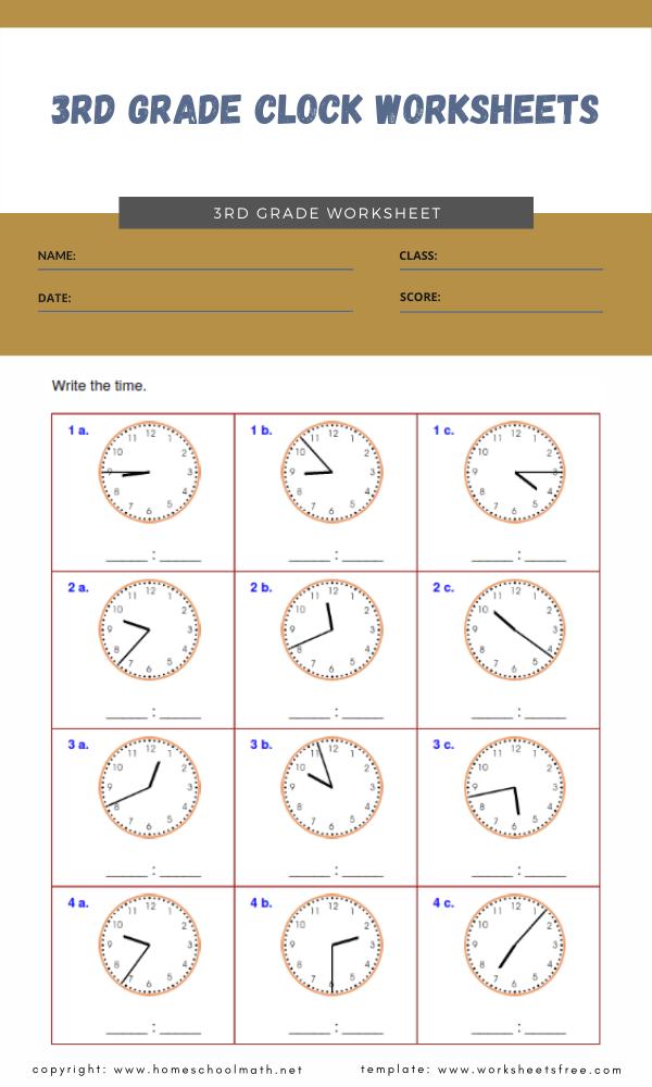 3rd grade clock worksheets 1