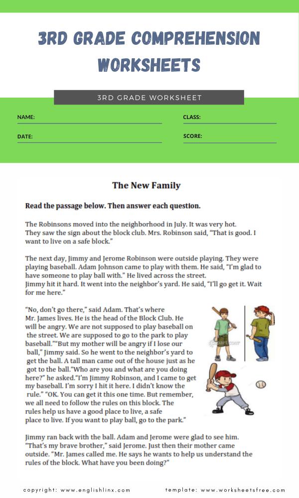 3rd grade comprehension worksheets 2