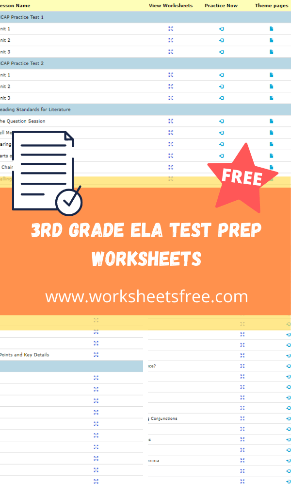 3rd grade ela test prep worksheets