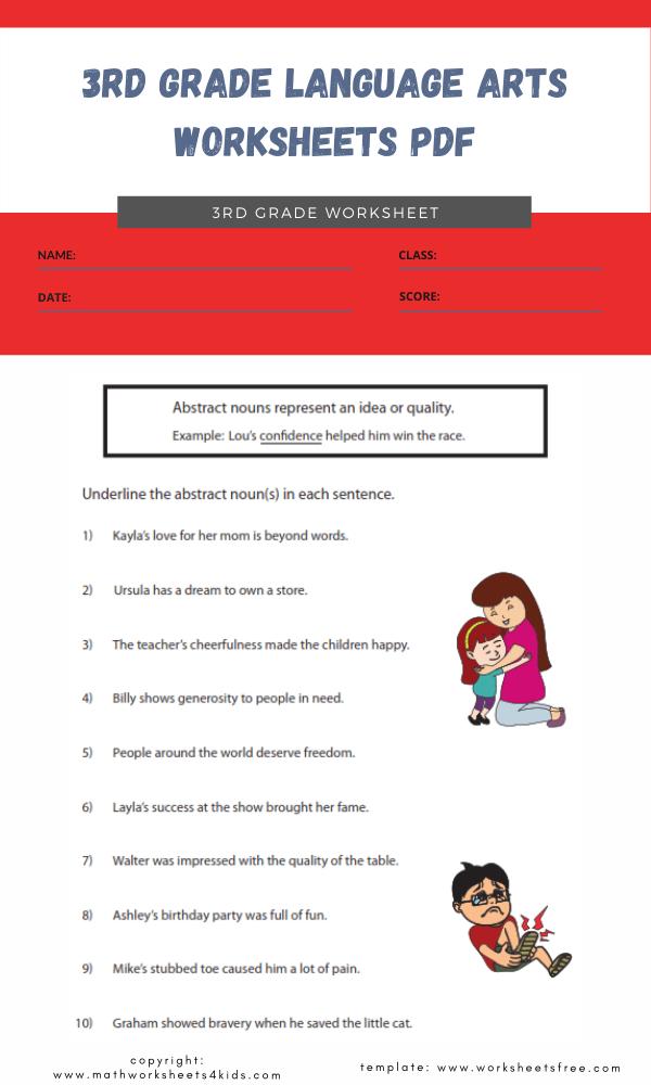 3rd grade language arts worksheets pdf 1