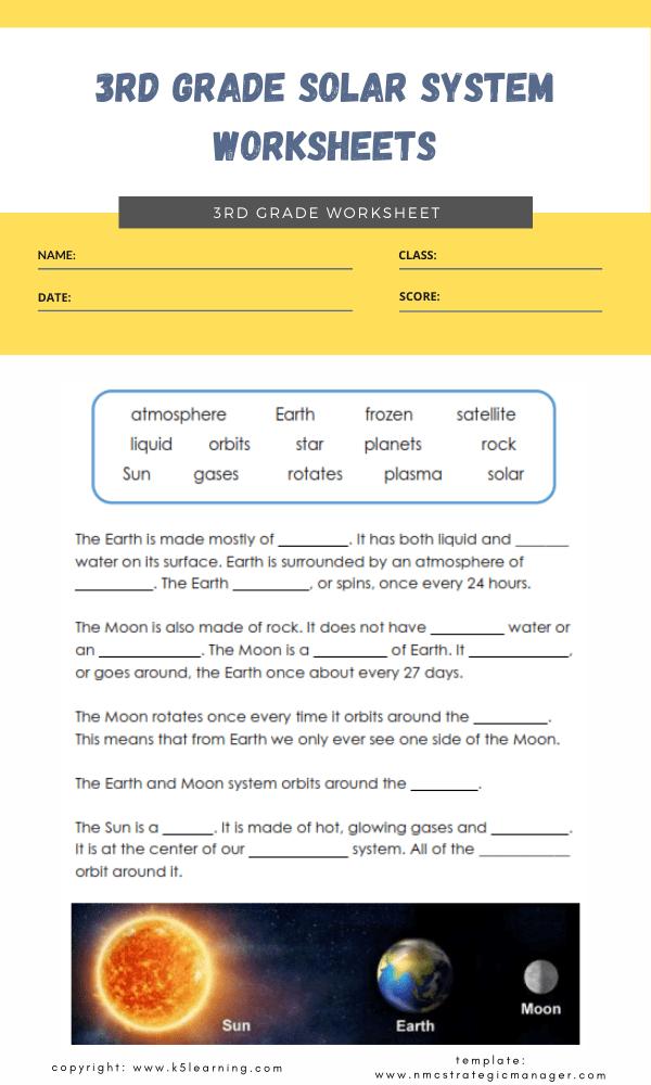 3rd grade solar system worksheets 3