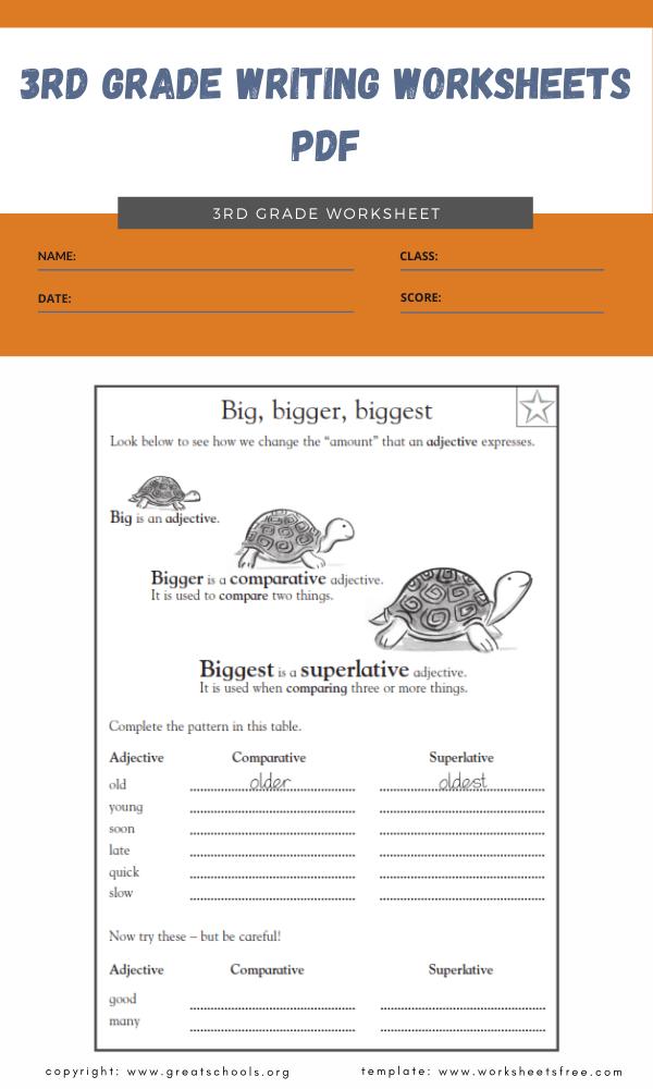 3rd grade writing worksheets pdf 1