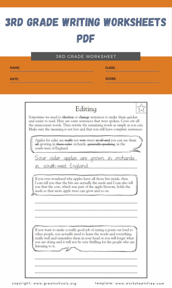 3rd grade writing worksheets pdf 5