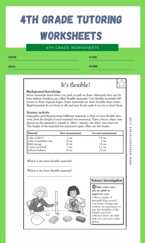 4th Grade Tutoring Worksheets 1