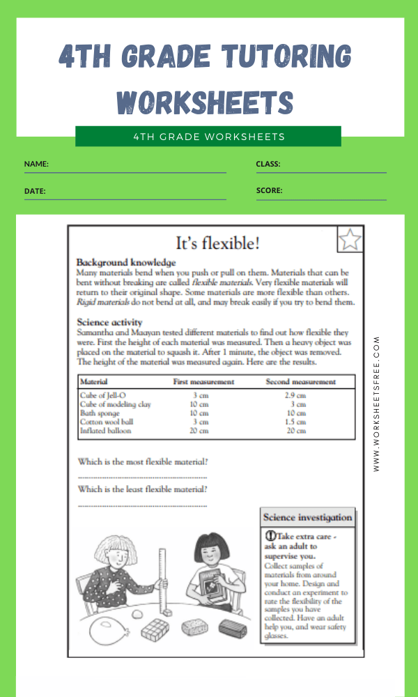 4th Grade Tutoring Worksheets 1