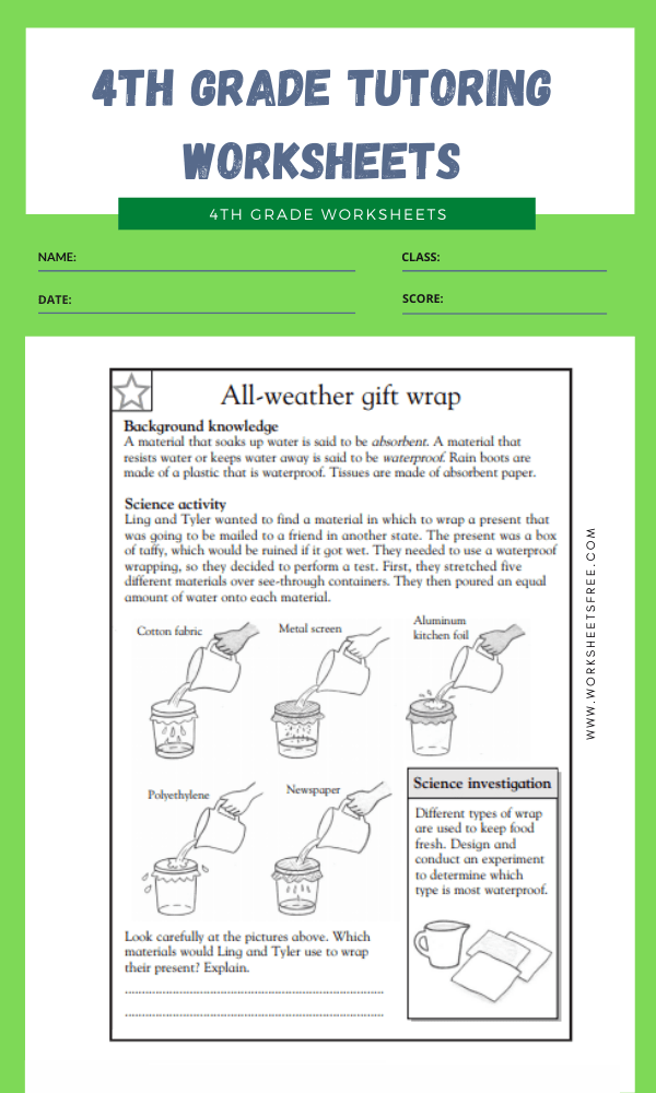 4th Grade Tutoring Worksheets 5