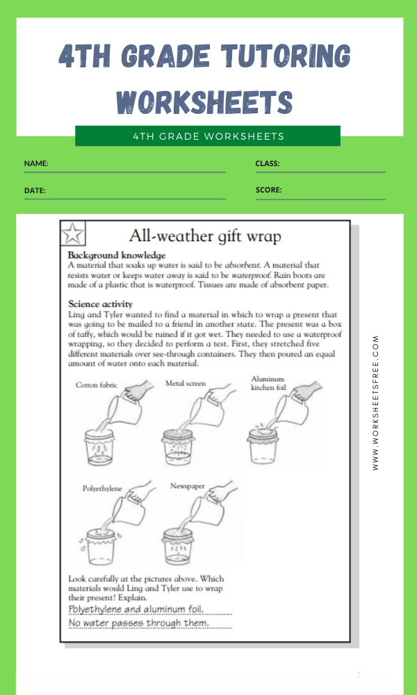 4th Grade Tutoring Worksheets 6