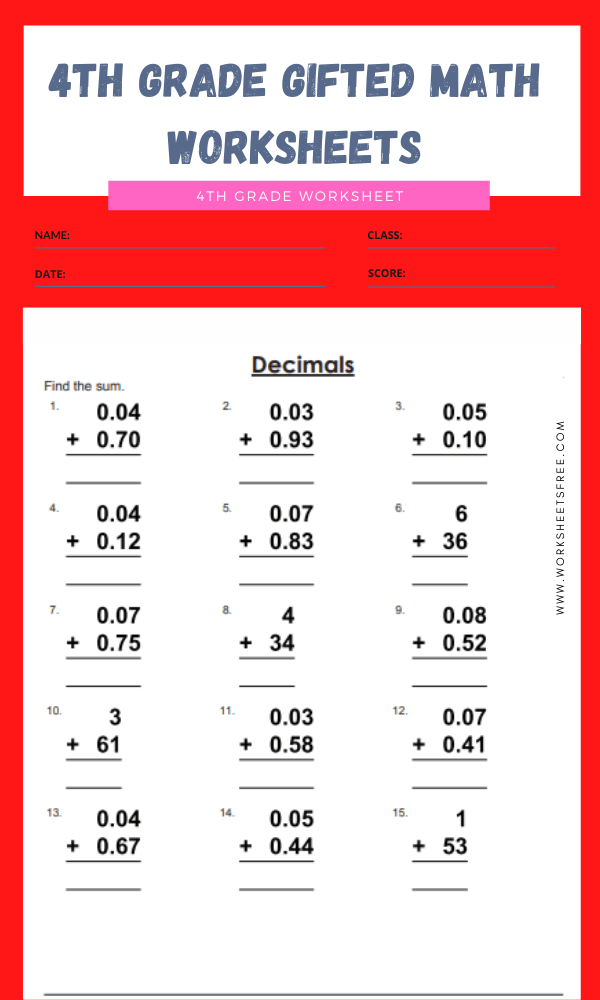 4th grade gifted math worksheets 11