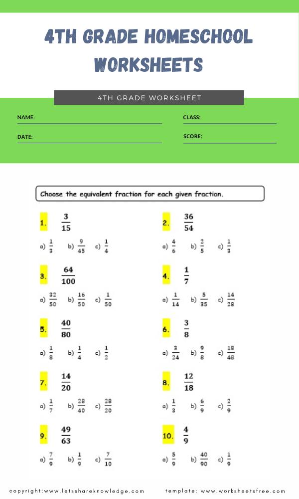 4th grade homeschool worksheets 4