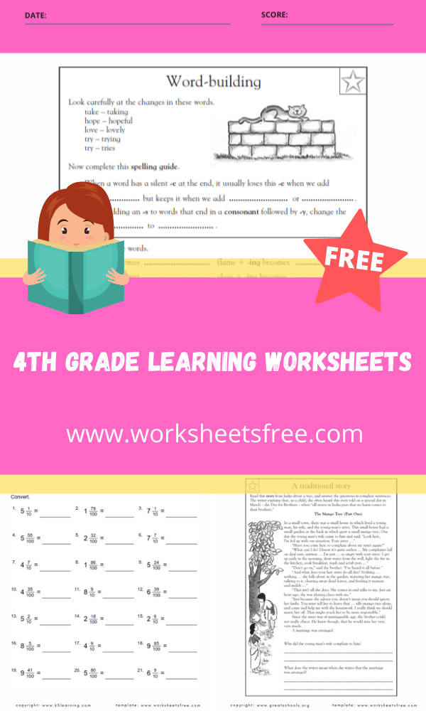 4th grade learning worksheets