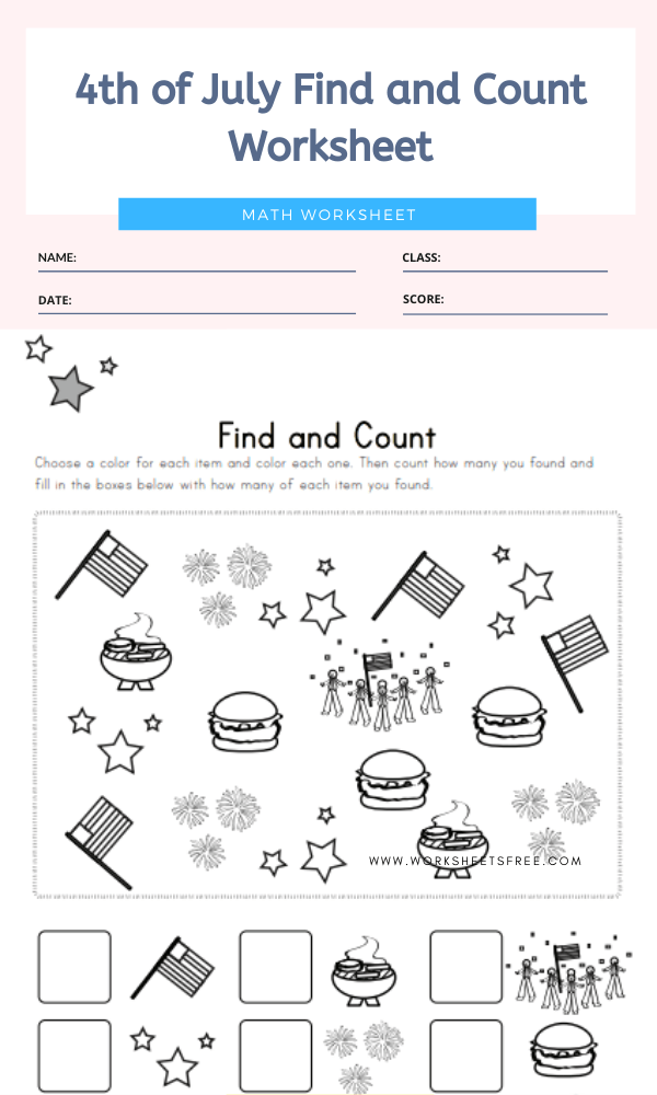 4th of July Find and Count Worksheet