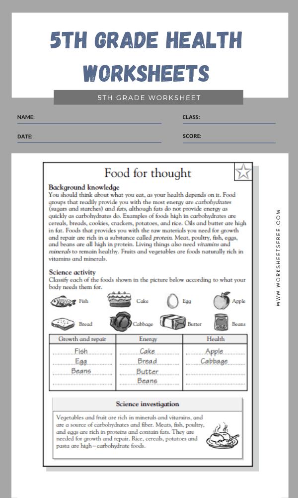 5th Grade Health Worksheets 2