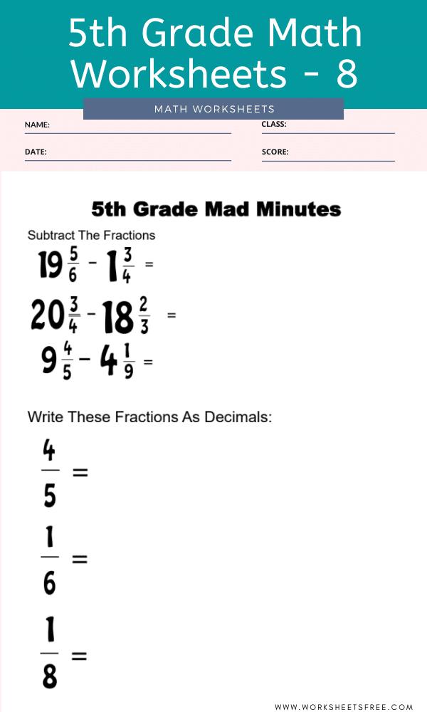 5th Grade Math Worksheets - 8