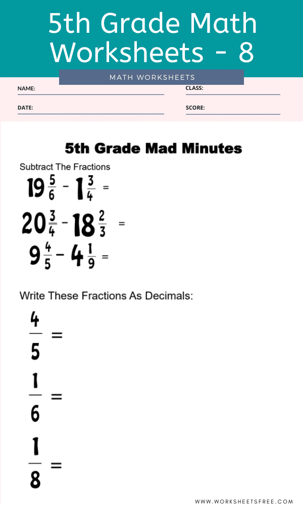 5th Grade Math Worksheets - 8