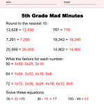 5th Grade Math Worksheets Answer Key 1
