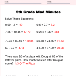 5th Grade Math Worksheets Answer Key 7
