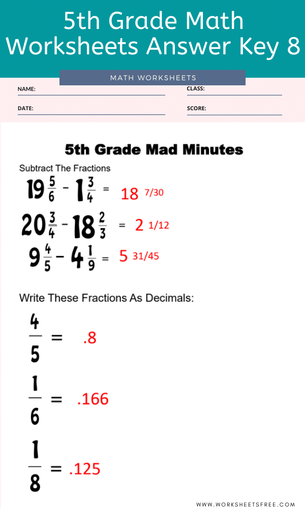 5th Grade Math Worksheets Answer Key 8