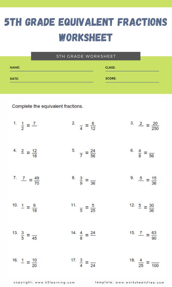 5th grade equivalent fractions worksheet 2