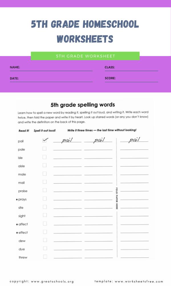 5th grade homeschool worksheets 2