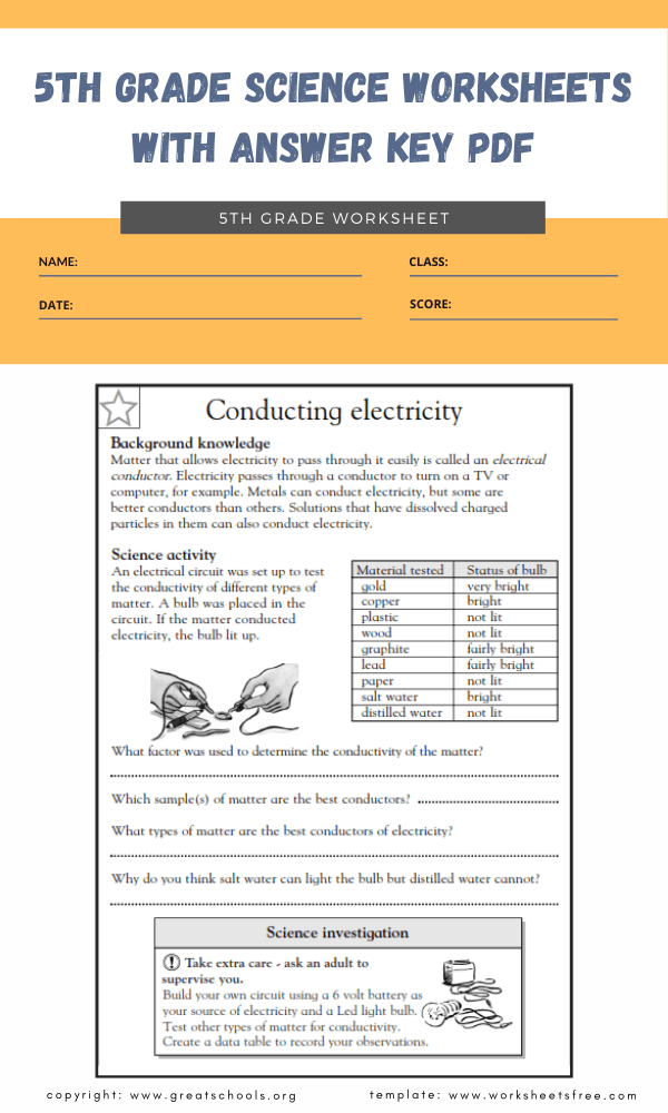 5th grade science worksheets with answer key pdf 3