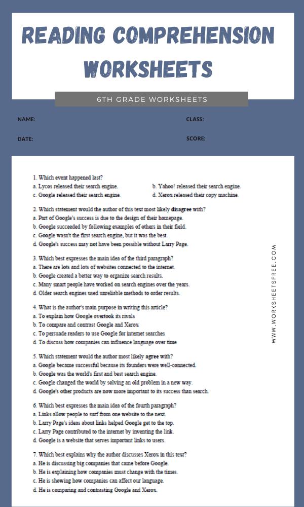 6th Grade Reading Comprehension Worksheets 5