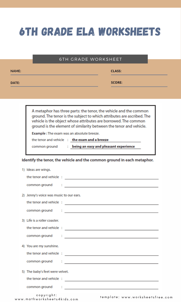 6th grade ela worksheets 2