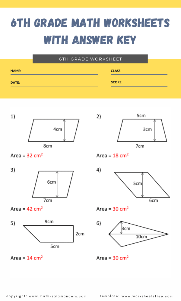 6th grade math worksheets with answer key 8