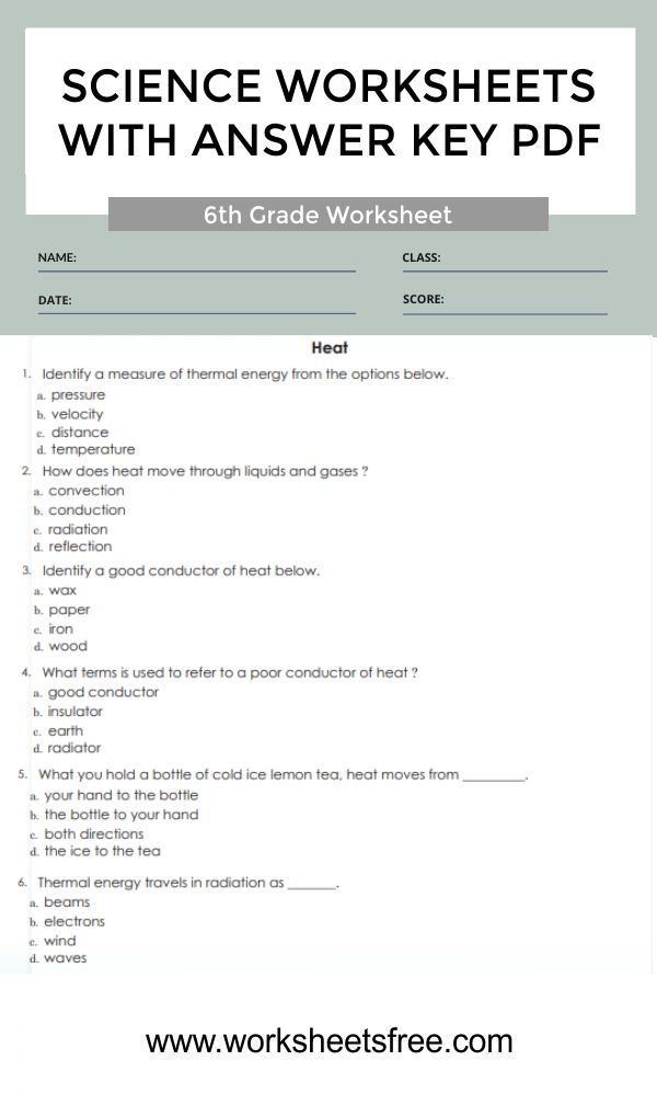 6th grade science worksheets with answer key pdf 6a