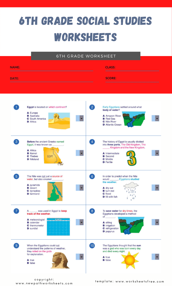 6th grade social studies worksheets 4