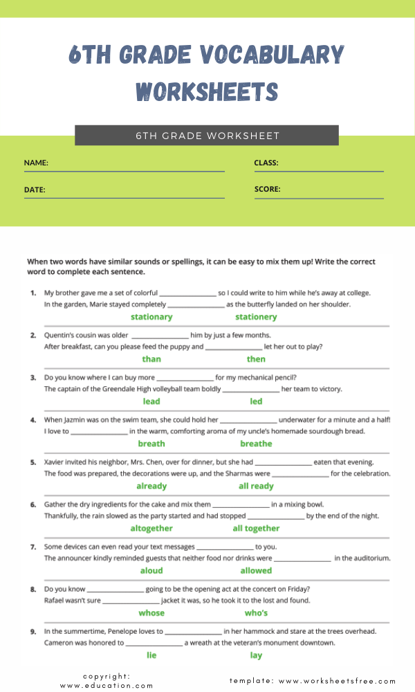 6th grade vocabulary worksheets 3