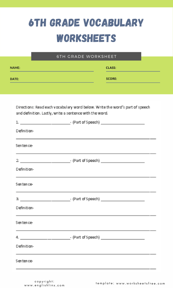 6th grade vocabulary worksheets 4