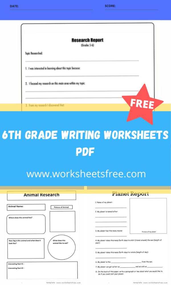 6th grade writing worksheets pdf