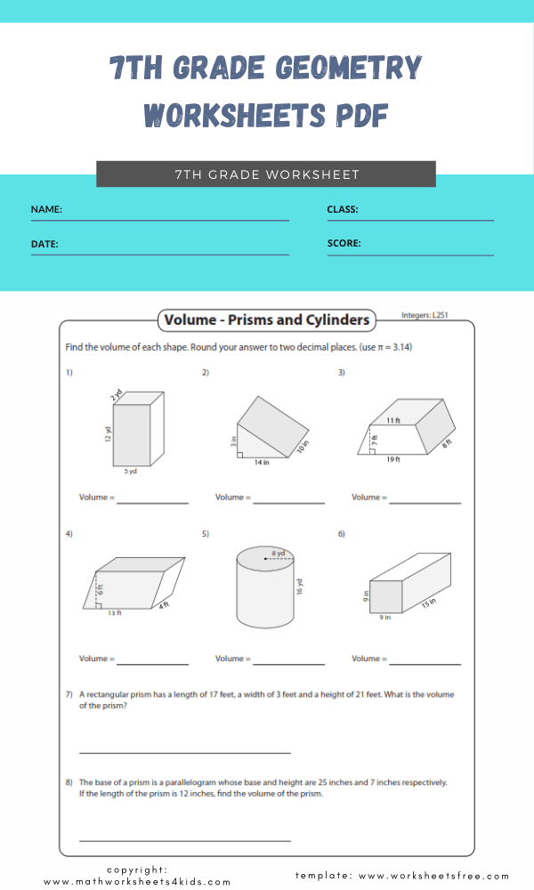 7th grade geometry worksheets pdf 4